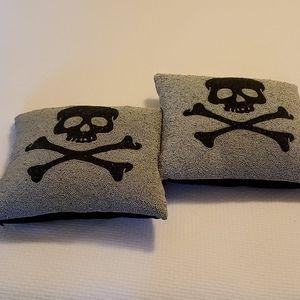 Pottery Barn Beaded Skull Pillows